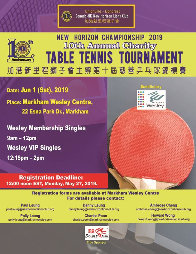 10th Annual Charity – Table Tennis Tournament for Wesley